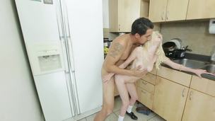 Tattooed young dude knows how to satisfy this sexual blond slut