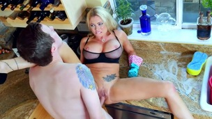Kitchen hardcore sex with breasty wife, Briana Banks