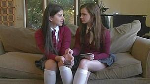 2 schoolgirls giving their fresh pussies