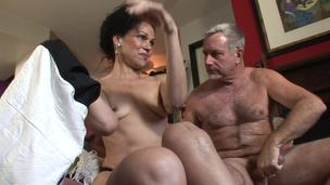 Old couple are willing for some super hot fucking session at home