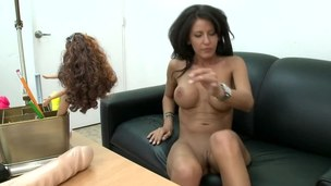 Tanned girl gets on the schlong and takes it for a sexy ride