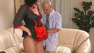 Blindfold French maid in sheer-to-waist pantyhose getting drilled on sofa