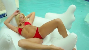 Outdoor pool solo along lovely blonde, Cheyenne Cummings