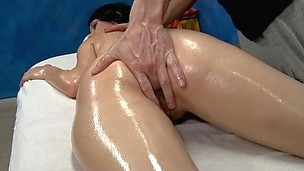 Sexy 18 year old Callie gets screwed hard from behind by her massage analyst